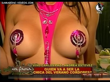 Andrea Estevez half naked tits with pasties